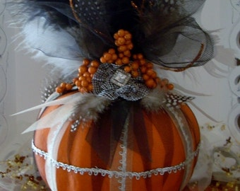 Orange Pumpkin, Fall Decor, Autumn, Harvest Ball, Party Decor, Handmade Uptown Pumpkin