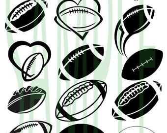 SALE!! Football SVG ,DFX, eps, png monogram clip-art pack vector files.