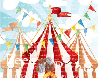 5ft.x5ft Circus Tent Vinyl Photography Backdrop - Birthday Party Photo Booth Backdrops, Cake Table Background - Photo Prop