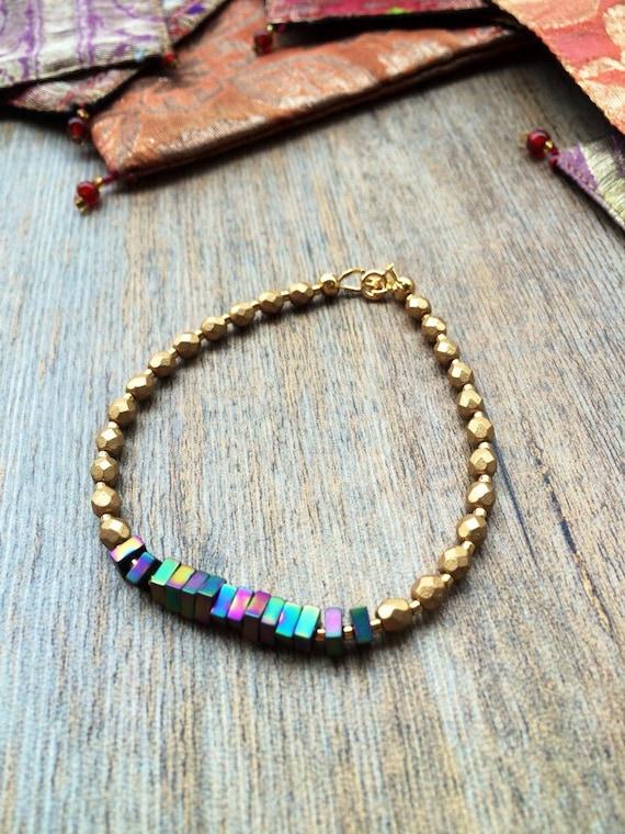 Delicate modern Czech glass beaded bracelet with rainbow hematite,  hematite bracelet, minimalist bracelet, stacking bracelet, matte gold