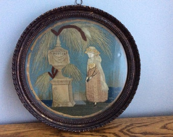 "Antique European Silk and Wool ""Werter"" Mourning Embroidery by daughter of Peter Banner"