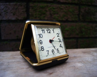 Vintage,travel elegant alarm clock Westcclox - working.