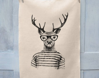 Hipster Deer Illustration Tea Towel