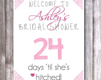 "Customized Bridal Shower ""Countdown"" Sign - Printable PDF"