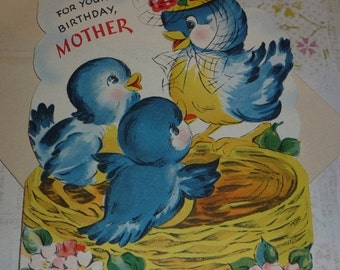 For Mother - Cute Bluebirds in a Nest  Unused Vintage Gibson Birthday Card
