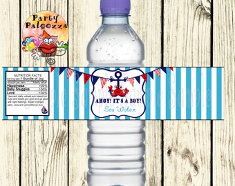 Printable Nautical Baby Shower water bottle label