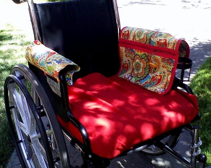 """Featured listing image: Wheelchair Armrest Pouch/Bag or Walker,lined zippered pocket with mate in """"Sarango"""" Bright.Handmade, cotton, washable."""