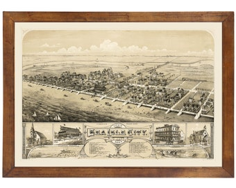 Sea Isle City, NJ 1885 Bird's Eye View; 24x36 Print from a Vintage Lithograph
