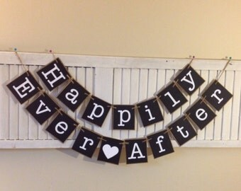 Wedding Banner Anniversary Happily Ever After Bunting Garland Sign Black and White Photo Prop