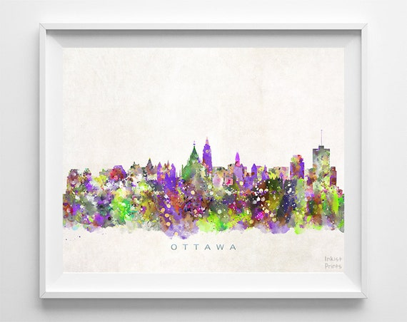 Ottawa Skyline Print Canadian Wall Decor Watercolor
