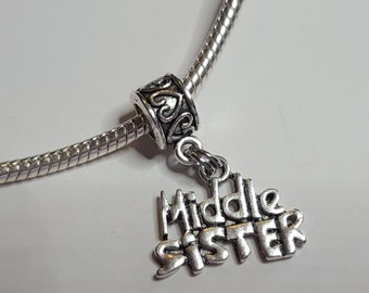 Middle Sister Dangle Charm / Spacer - Nice Charm -Fits all Designer and European Charm Bracelets*