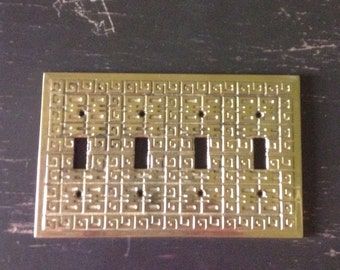 Vintage Cast Brass Four Switch Plate Cover