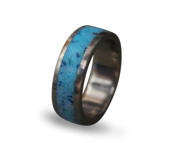 Glow in the dark ring titanium men39s ring lapis lazuli for Glow in the dark wedding rings