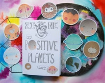 Positive Planets Zine & Sticker Set | Handmade A6 coloured art zine | Space | Gift | Motivational | Self-Care | Love filled | Collage |