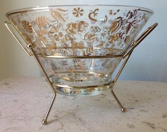 Vintage Georges Briard MidCentury Serving Bowl with Carrier
