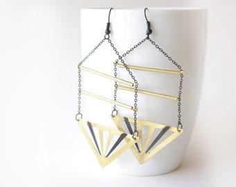 minimalist triangle earrings, statement long brass earrings, summer earrings