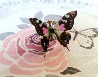 Beautiful Black, Pink & Green Butterfly Ring
