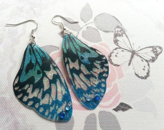 Beautiful Tiger Blue Wing Earrings