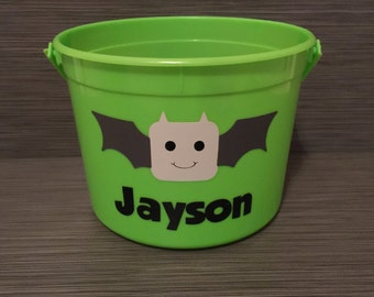 Personalized Bat Trick or Treat Bucket // Bat Trick or Treat Bag // Halloween Bat // Bat