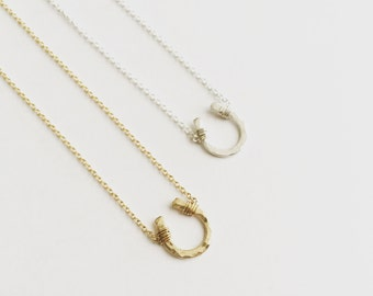 Gold Filled Itty Bitty Horseshoe Necklace // Cable Chain