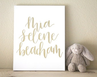 calligraphy nursery canvas no. 2 // custom baby name