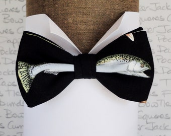 Fish Print Bow Tie, Bow Ties For Men, Sardine Bow Tie, Herring Bow Tie