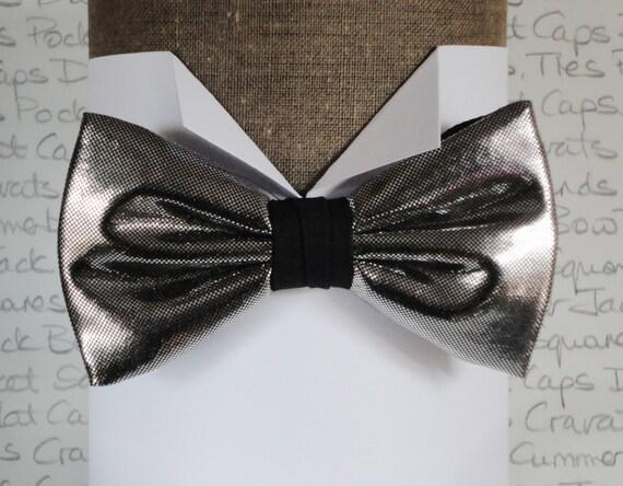 Silver bow tie, bow ties for men, pre tied bow tie