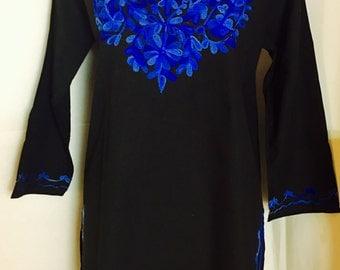 Women 100% cotton black hand embroidered Kurti kurta tunic dress top sz XL long sleeve