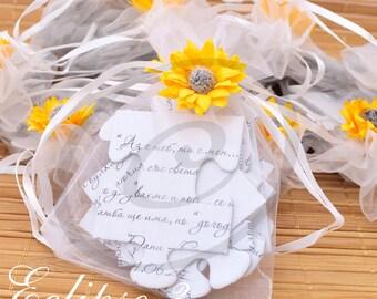 Puzzle wedding invitations sunflower jigsaw wedding invitations Sunflower Wedding Invite spring wedding Sunflower party invitations SET 20