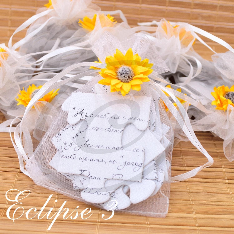 Puzzle wedding invitations sunflower jigsaw wedding