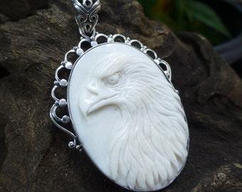 Sterling Silver Carved Bone Eagle Pendant BP-147