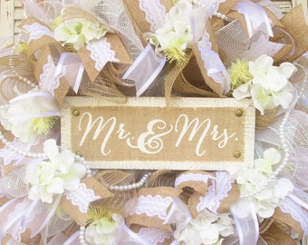 Wedding Wreath, Wedding Door Wreath, Wedding Shower Wreath,Burlap Wreath, Burlap Wedding Wreath, Mr and Mrs. Wreath,