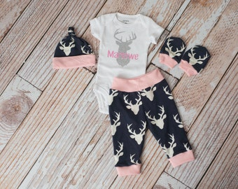 Newborn Coming Home Girl Baby Deer Antlers/Horns Bodysuit, Hat, Scratch Mittens Set with Navy and Pink+ Glitter Personalized Deer Bodysuit