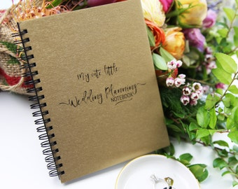 "My Cute Little Wedding Planning Notebook - Gold Metallic Paperboard Journal - 7"" x 5"" - 50 sheet"