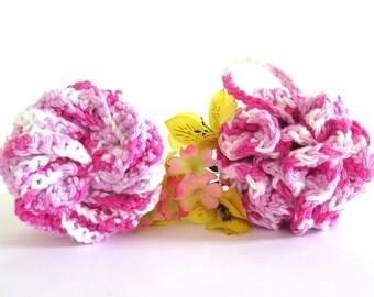 Crochet Facial Scrubbie Pouf Pink White Cotton