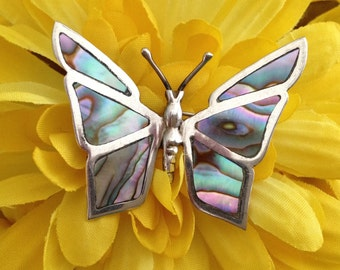 Mexican Sterling Silver Inlaid Abalone Butterfly Pin,Silver Butterfly Brooch Inlay Abalone Shell, 925 Sterling Abalone Silver Butterfly Pin