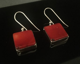 Red Coral Earrings // 925 Sterling Silver // Square Setting //  Coral Earrings // Natural Coral Earrings