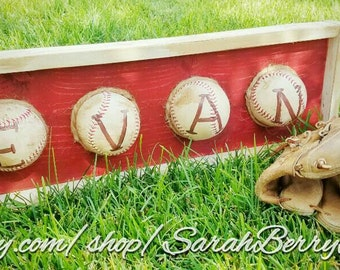 Baseball Name Plaque-Real Baseballs-Nursery Decor- Coach's Gifts-MLB-Kids Decor- Man Cave Signs -Father's day gifts-Softball-Boys Room Decor