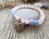 Rose quartz bracelet Fertility bracelet Aquamarine bracelet Women Bracelet Love bracelet Charm bracelet Gifts for girls gift ideas for woman