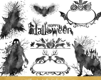 Creepy Halloween Clipart - Black Watercolor - INSTANT DOWNLOAD - 20 .PNG Images