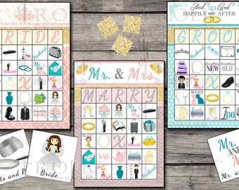 Bridal Shower Bingo 30 printable cards INSTANT DOWNLOAD