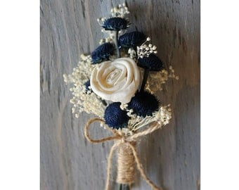 Rustic Boutonniere Groom Boutonniere Groomsman Boutonniere Dried Flowers Mens Wedding Sola Boutonniere  Wedding  Ivory Boutonniere