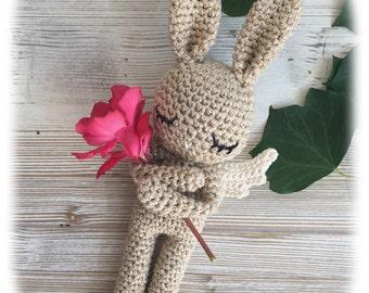 Baby Magic Bunny, MADE TO ORDER, crochet bunny, crochet toy, baby bunny, x-mas bunny, golden rabbit, child gift,newborn birth gift,christmas