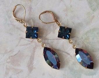 Bermuda Blue Earrings Crystal Rhinestone Earrings Blue Crystal Earrings Swarovski Crystal Earrings Blue Rhinestone Earrings Gift for Her