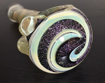 "4"" Color Changing Spoon Pipe w/ Pink Dichro Spirals"