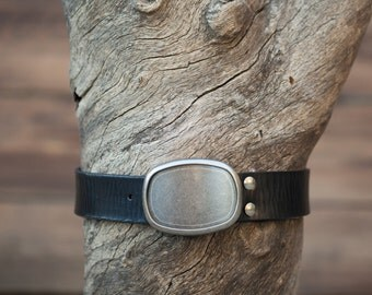 Children's Belt - Black Leather Belt with Textured Finish with Gunmetal Oval Plate Buckle (Children's)