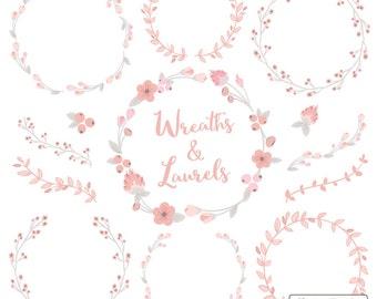 Floral Wreaths & Laurels in Soft Pink - Soft Pink Flower Wreath, Soft Pink Wreath, Wreath Clipart, Laurel Clipart