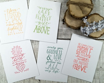 Bible Verse Letterpress Card Pack {Set of 5} Share your faith