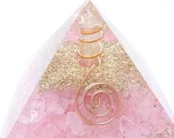 Rose Quartz Orgonite Pyramid with Quartz