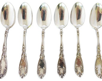 """Set of 6 Antique Victorian  Silver Plate Grapevine Design  Desert Spoons Marked """" Rogers"""" Excellent!"""